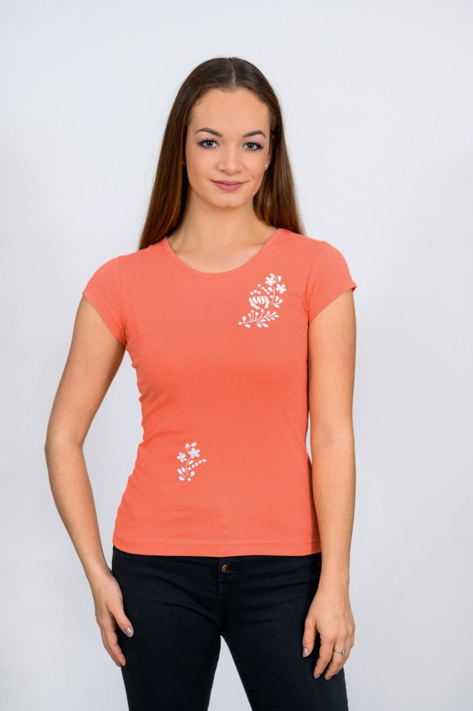 Dámske tričko s bielou výšivkou T011