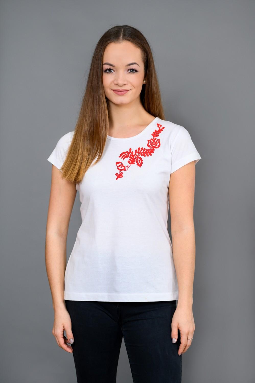 Dámske tričko s červenou výšivkou T013