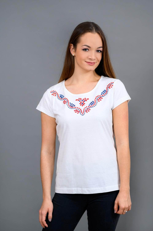 Dámske tričko s červeno-modrou výšivkou T014