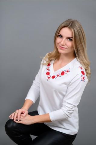 Dámske tričko s červeno-modrou výšivkou T009