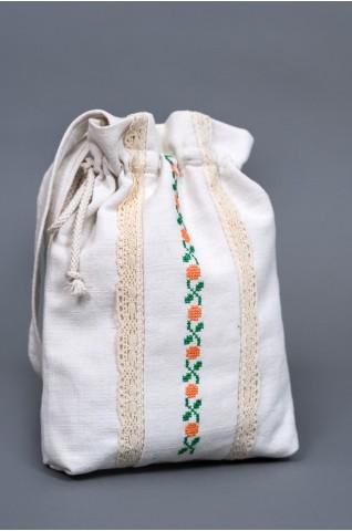 Malá, vyšívaná taška z ľanového plátna - TS011