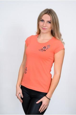 Női póló, ókalocsai hímzéssel T012