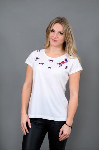 Női póló, palóc hímzéssel T018