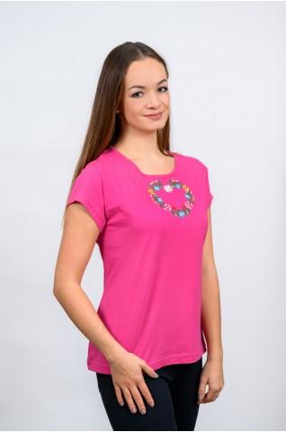 Női póló, kalocsai szív T017