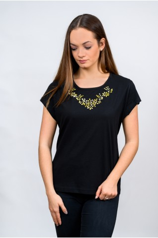 Női póló, aranysárga hímzéssel T020