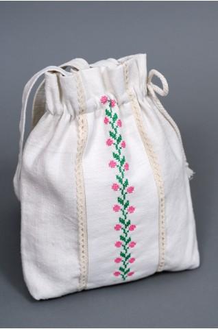 Kisméretű, kézzel hímzett, női vászon táska -TS012